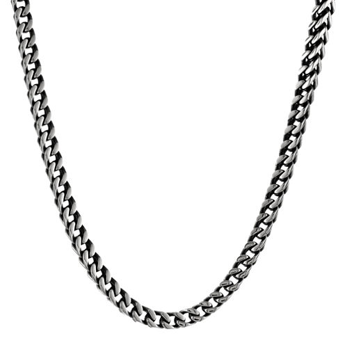"Mens Antiqued Stainless Steel 22"" 5mm Foxtail Chain"