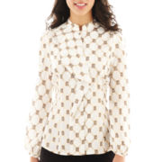 Worthington® Long-Sleeve Ruffle Front Top - Petite
