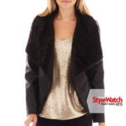 Worthington® Faux Fur-Trim Faux-Leather Jacket - Petite