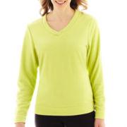 Made For Life™ Long-Sleeve Brushed Fleece V-Neck Pullover - Petite