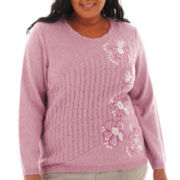 Alfred Dunner® Glaicer Lake Long-Sleeve Floral Cable Sweater - Plus