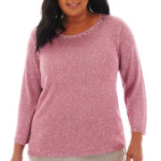 Alfred Dunner® Glacier Lake 3/4-Sleeve Texture Sequin Sweater - Plus