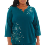 Alfred Dunner® Lake Ontario 3/4-Sleeve Embroidered Floral Top - Plus