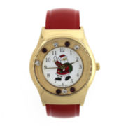 Womens Crystal-Accent Holiday Cuff Watch