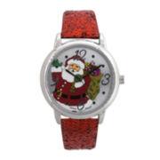 Womens Metallic Glitter Leather Strap Holiday Watch