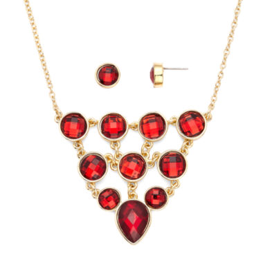 jcpenney.com | Liz Claiborne® Red Crystal Bib Necklace and Stud Earring Set