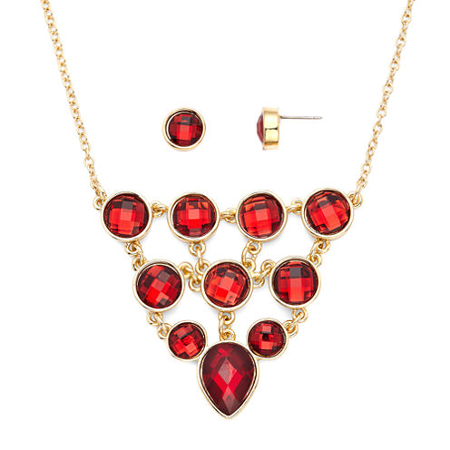 Liz Claiborne® Red Crystal Bib Necklace and Stud Earring Set