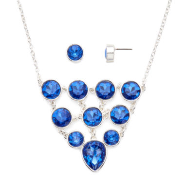 jcpenney.com | Liz Claiborne® Blue Crystal Bib Necklace and Stud Earring Set