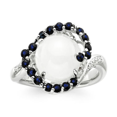 jcpenney.com | Sterling Silver Moonstone and Lab-Created White and Blue Sapphire Ring