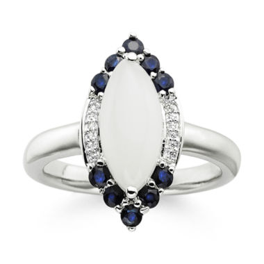 jcpenney.com | Genuine Moonstone and Lab-Created Blue and White Sapphire Sterling Silver Ring