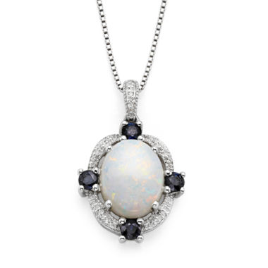 jcpenney.com | Genuine Moonstone and Lab-Created Blue and White Sapphire Sterling Silver Pendant Necklace