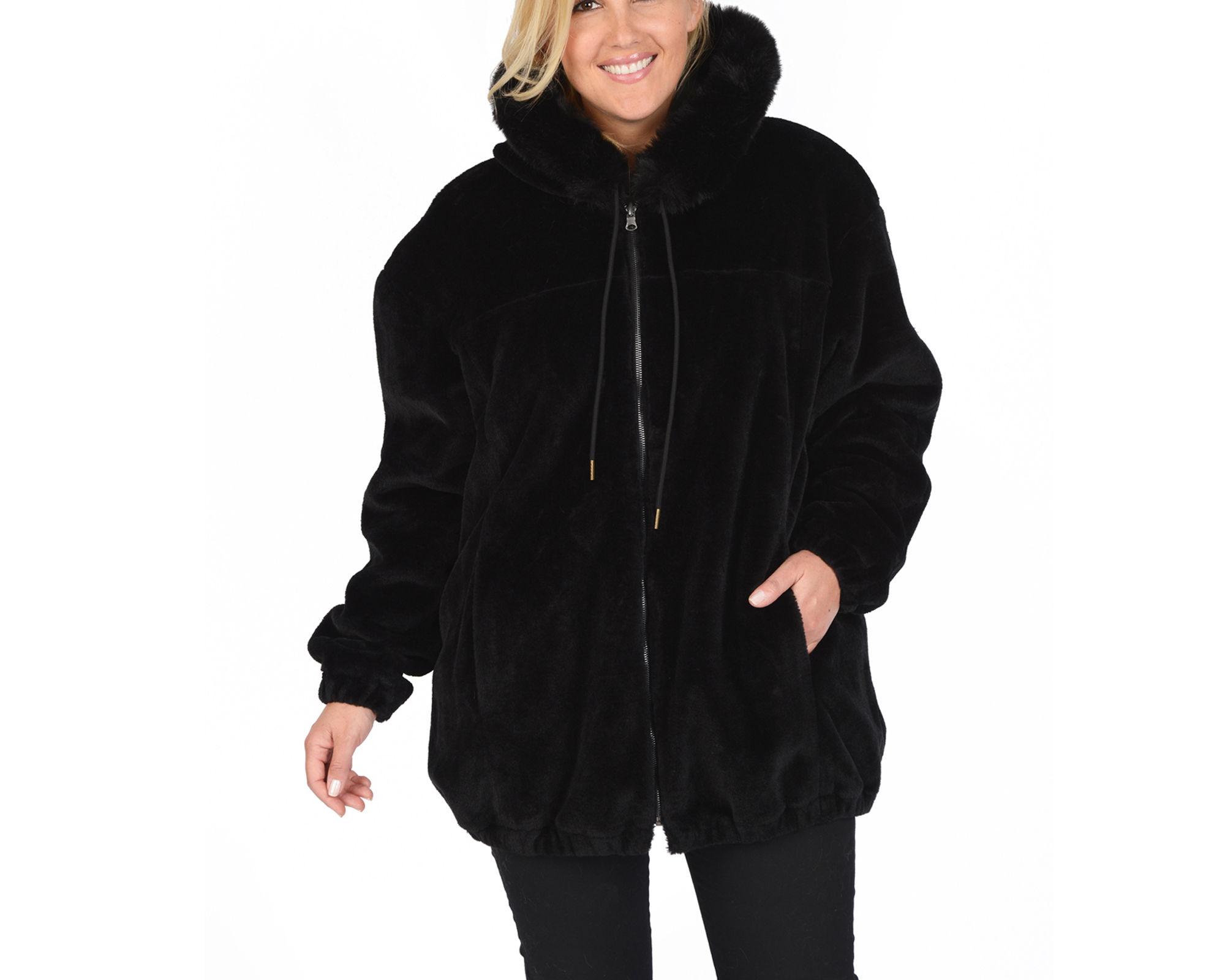 Excelled Reversible Faux-Leather/Faux-Fur Jacket - Plus