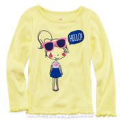 Okie Dokie® Long-Sleeve Ruffle Tee - Toddler Girls 2t-5t
