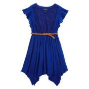 Disorderly Kids® Belted Gauze Shark-Bite Dress - Girls 7-16