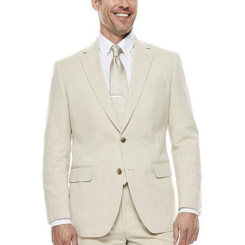 Stafford® Tan Linen-Cotton Suit Jacket - Classic Fit