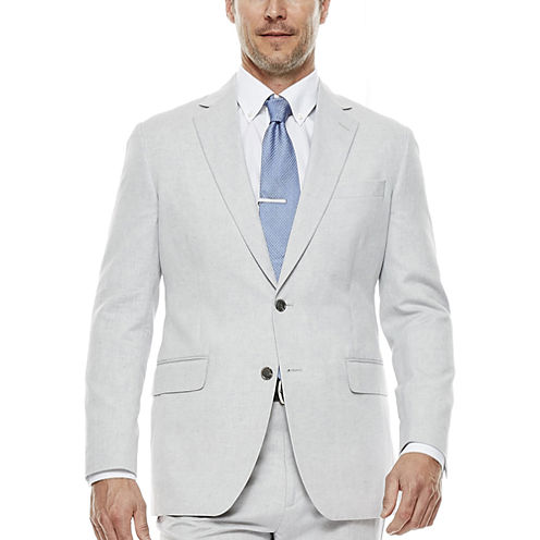 Stafford® Light Gray Linen-Cotton Suit Jacket - Classic Fit