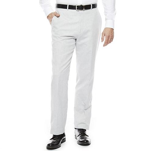 Stafford® Light Gray Linen-Cotton Suit Pants - Classic Fit