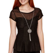 by&by Cap-Sleeve Mesh Necklace Peplum Top