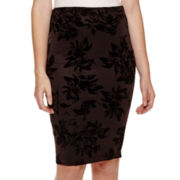by&by Flocked Midi Pencil Skirt