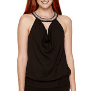 XOXO® Sleeveless Drape-Front Neck-Trim Top