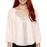 XOXO® 3/4-Sleeve Embroidered-Front Blouse