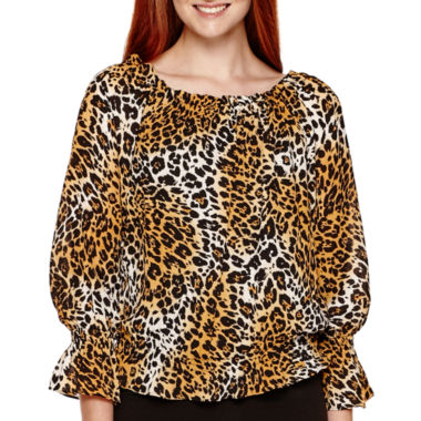jcpenney.com | XOXO® Long-Sleeve Animal Print Peasant Blouse