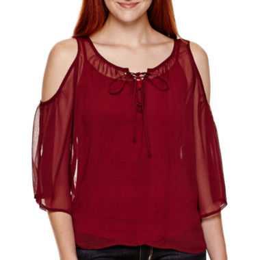 jcpenney.com | Arizona 3/4-Sleeve Cold-Shoulder Peasant Top  - Juniors