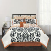 Republic Black and White Solid Damask 8-pc. Comforter Set
