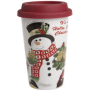 Fitz and Floyd® Holly Berry Snowman Porcelain Travel Mug with Silicone Lid