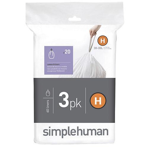 simplehuman® Custom-Fit Trash Can Liners Code H - 60-pack