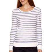 Liz Claiborne® Weekend Long-Sleeve Striped Sweatshirt