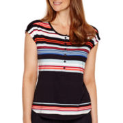 Liz Claiborne® Short-Sleeve Striped Henley Top