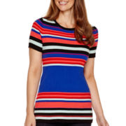 Liz Claiborne® Short-Sleeve Ribbed Striped Sweater