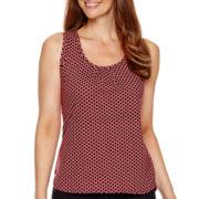 Liz Claiborne® Pleat-Neck Print Tank Top