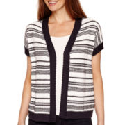 Liz Claiborne® Short-Sleeve Textured Cardigan