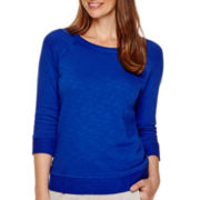 Liz Claiborne® Weekend Long-Sleeve French Terry Sweatshirt