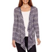 Liz Claiborne® Long-Sleeve Drape-Front Cardigan