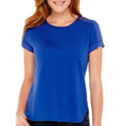 Liz Claiborne® Short-Sleeve Knit-and-Woven T-Shirt