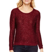 a.n.a® Long-Sleeve Sequin Sweater- Petite