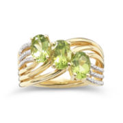 14K Gold-Plated 3-Stone Peridot & Diamond-Accent Ring