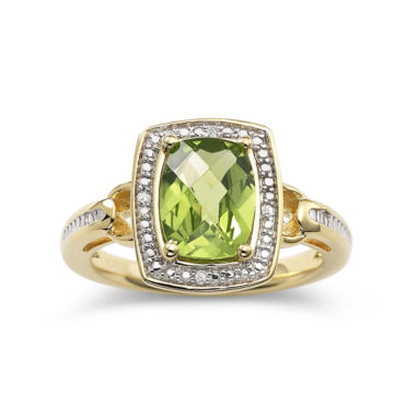 jcpenney.com | 14K Gold Over Silver Peridot & Diamond-Accent Ring
