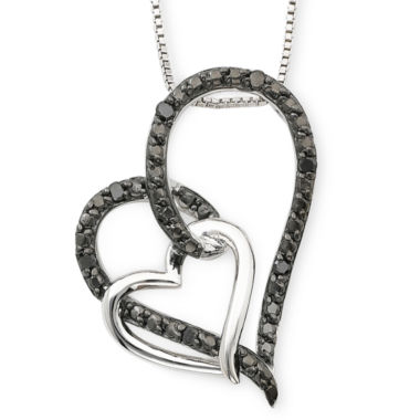 jcpenney.com | 1/10 CT. T.W. Color-Enhanced Black Diamond Double Heart Pendant Necklace