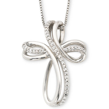 jcpenney.com | Sterling Silver 1/10 CT. T.W. Diamond Cross Pendant Necklace