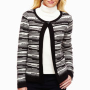 Liz Claiborne Long-Sleeve Reverse Striped Cardigan