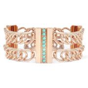 nicole by Nicole Miller® Rose-Tone Aqua Double-Chain Bracelet