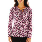 Liz Claiborne Long-Sleeve Tie-Neck Blouse - Talls