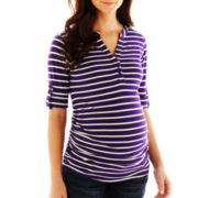 Maternity Striped Henley - Plus
