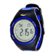Everlast® Womens Pedometer Blue/Black Silicone Strap Sport Watch