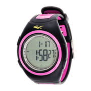 Everlast® Womens Pedometer Pink/Black Silicone Strap Sport Watch