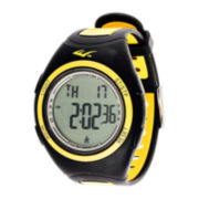 Everlast® Womens Pedometer Yellow/Black Silicone Strap Sport Watch